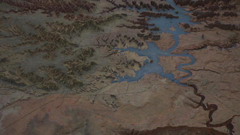 Arizona 3D map model of Glen Canyon Dam Lake Powell 4K Live Action