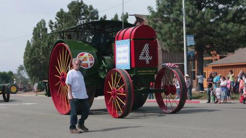 Antique tractor rural parade HD 8534 Footage