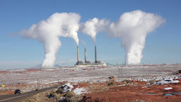 Arizona Navajo Power Plant smoke steam Page 4K Footage