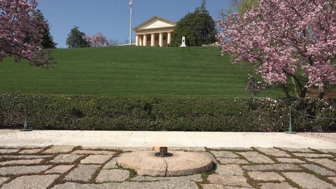Arlington Cemetery Eternal Flame President Kennedy grave blossoms 4K Footage