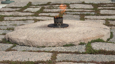 Arlington Cemetery President Kennedy grave eternal flame 4K Footage