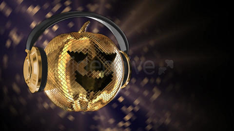 Halloween disco ball with headphones and rays.4K Animation