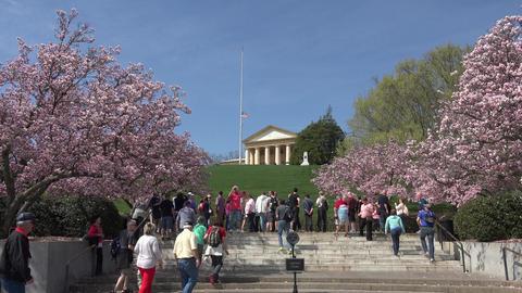 Arlington Cemetery Eternal Flame President Kennedy grave tourists 4K Footage