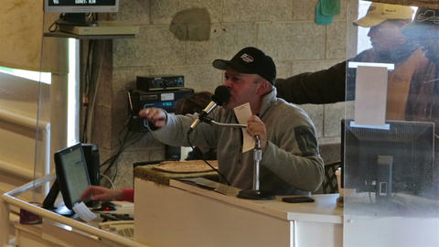 Auctioneer and recorder livestock cattle sale HD 0347 Footage