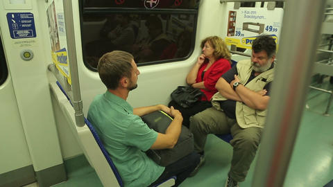 Tired passengers returning home after work, urban public transportation service Footage