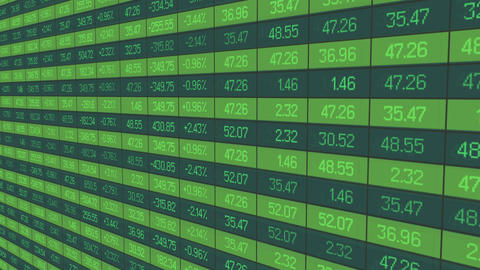 Animated trading statistics, share price indices updating on stock market board Footage