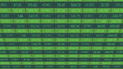List of realtime quotes and prices data. Figures changing on stock market board Footage