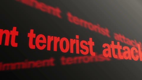 Imminent terrorist attack warning text running on TV screen. Security system Footage