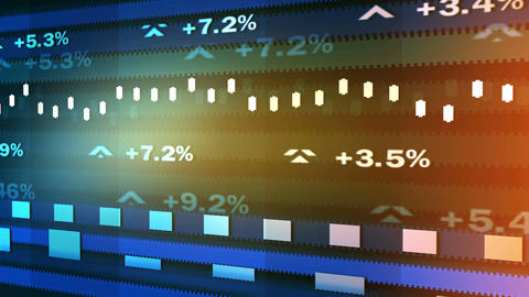 Animated ticker showing stock market fluctuations, percentage indices running Live Action