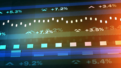 Electronic ticker displays percentage change in market price of company stocks Footage