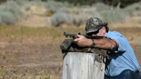 Black powder rifle practice Slow P HD 2263 Footage