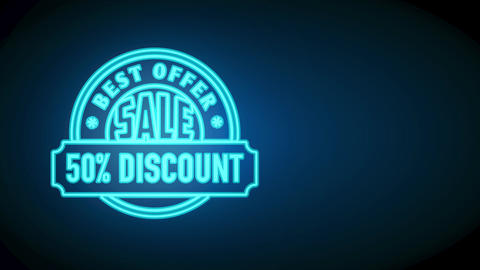 fifty percent trade excellent discount offer on high need products with blue neon round mark and Animation