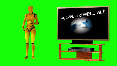 704 4k 3d animated footage of coronavirus on tv explained by avatar woman robot Animation