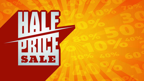half price sale on 3d red structure contrasting with background made with sunburst and high discount Animation