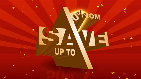 big transfer reduce advertising for commerce marketing with metallic geometrical numbers and letters Animation