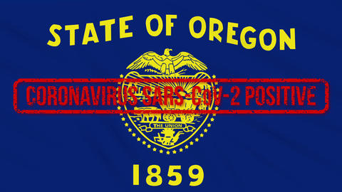 Oregon US state swaying flag stamped with positive response to COVID-19, loop Animation