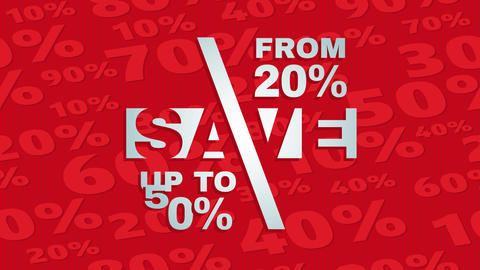 mall store sale advertisement for window shoppers putting save from 20 up to 50 percent on red Animation
