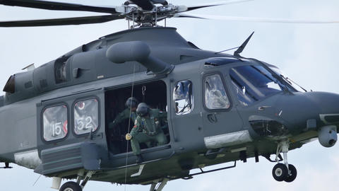 Search and Rescue SAR Helicopter Take off. Agusta Westland AW-139 Live Action