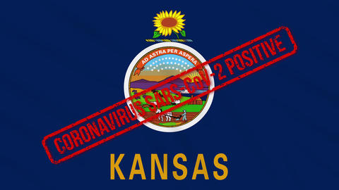 Kansas US state swaying flag stamped with positive response to COVID-19, loop Animation