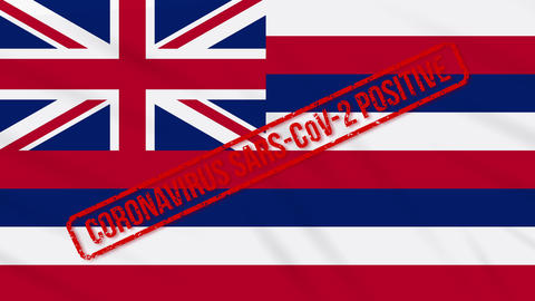 Hawaii US state swaying flag stamped with positive response to COVID-19, loop Animation