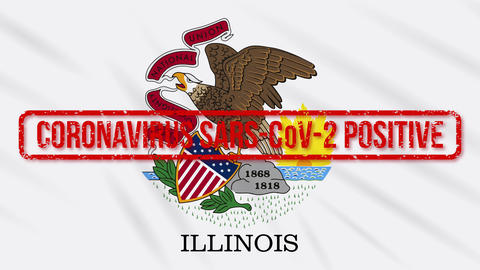 Illinois US state swaying flag stamped with positive response to COVID-19, loop Animation