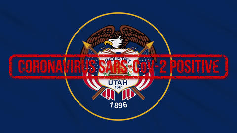 Utah US state swaying flag stamped with positive response to COVID-19, loop Animation