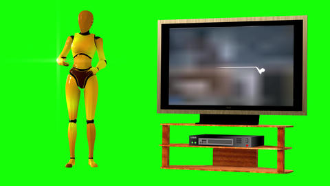 704 a 4k 3d animated footage of coronavirus on tv explained by avatar woman robot Animation