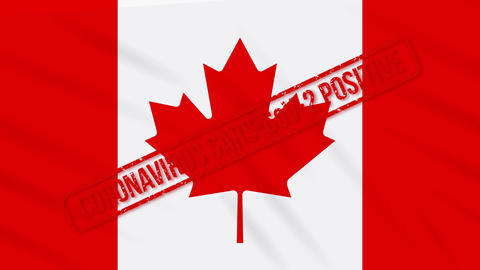Canada swaying flag stamped with positive response to COVID-19, loop Animation