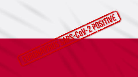 Poland swaying flag stamped with positive response to COVID-19, loop Animation