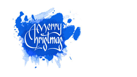 antique style merry xmas script for greeting cardboard written on messy blue watercolour stain in Animation