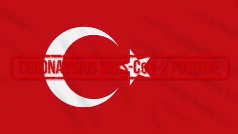Turkey swaying flag stamped with positive response to COVID-19, loop Animation