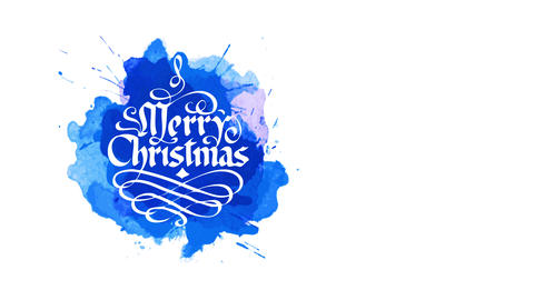 white merry xmas handwritten antique handwriting style with irregular decorate over blue watercolor Animation