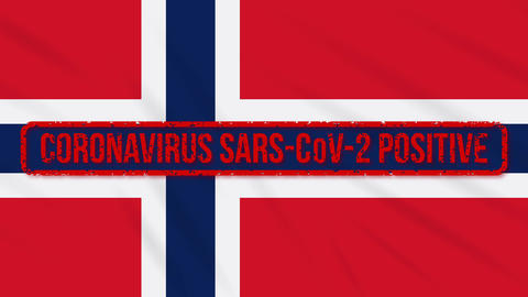 Norway swaying flag stamped with positive response to COVID-19, loop Animation