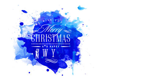 one wish yourself a merry xmas and a joyful new year retailer advert with lean white writing on blue Animation