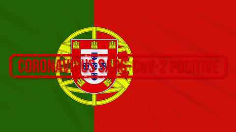 Portugal swaying flag stamped with positive response to COVID-19, loop Animation