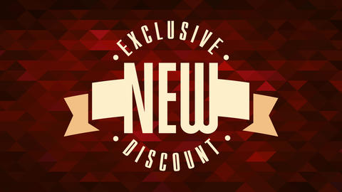 exclusive new discount ad over background with tiny ruby color triangles for retail products Animation