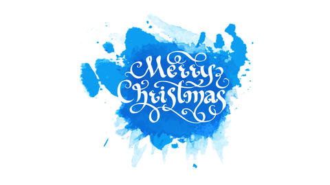 merry christmas season gift card with white ornamental typography drawn on rounded blue watercolor Animation
