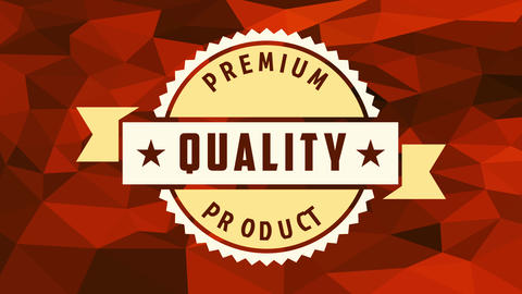 commercial enterprise premium quality product icon made with zigzagged circle under ribbon over 3d Animation