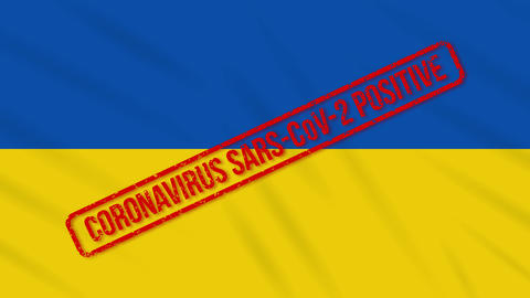 Ukraine swaying flag stamped with positive response to COVID-19, loop Animation