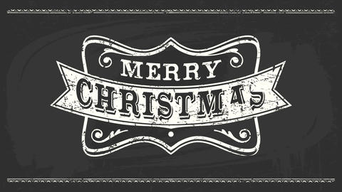 western cowboy style merry christmas message with chalk retro typography over elegant frame on black Animation