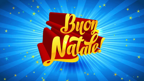 buon natale 3d calligraphy with mid angle guide over lighting blue sunburst scene sharing angle Animation