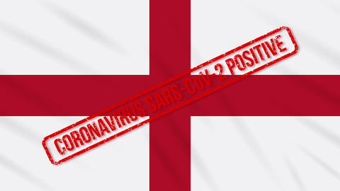 England swaying flag stamped with positive response to COVID-19, loop Animation
