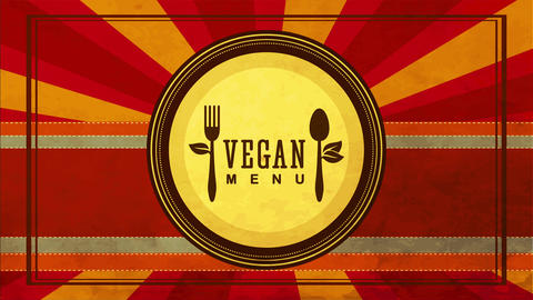 vegan food sign idea with eco friendly cutlery drawn on a paper plate over background with striped Animation