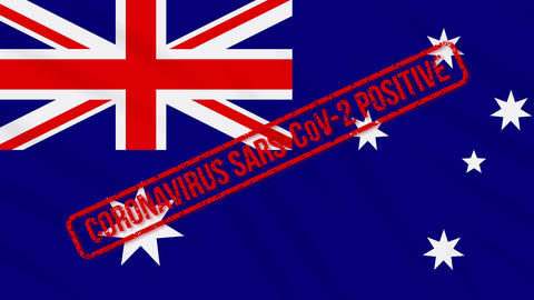 Australia swaying flag stamped with positive response to COVID-19, loop Animation
