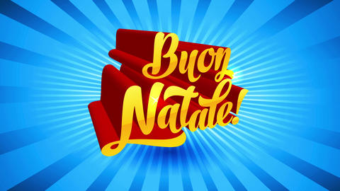buon natale 3d calligraphy with low angle direction over light blue sunburst background giving Animation