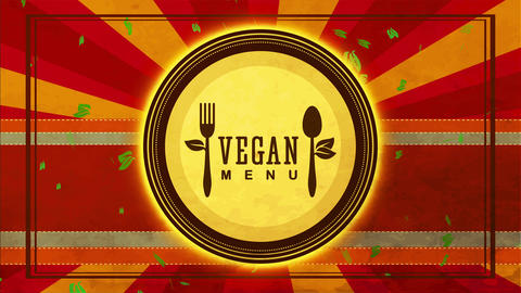 vegan nourishment sign way with eco friendly cutlery drawn on a cardboard plate over scene with Animation