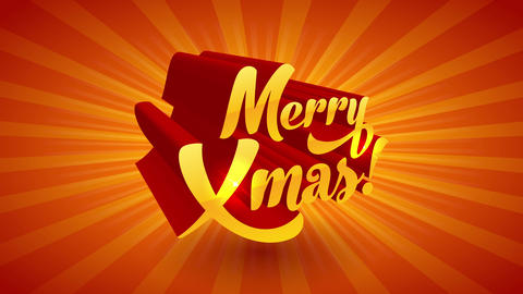 merry xmas festive sign with 3d glowing cartoon gradient text effect with flashes of sunlight on Animation