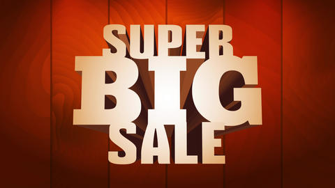 super big sale with imponsing steel texture letters on brilliant wooden background for commercial Animation