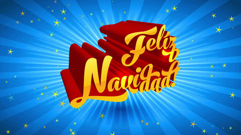 feliz navidad spanish merry christmas red and gold 3d offset over blue scene with light radiate Animation