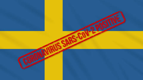 Sweden swaying flag stamped with positive response to COVID-19, loop Animation